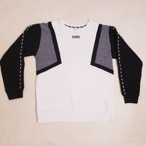 VS PINK Black, White, & Gray Pullover Sweater, S